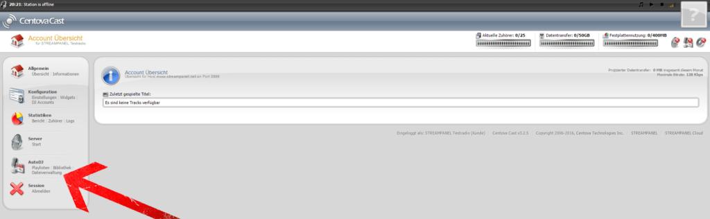 """Klicken nach dem Login, links im Menü unter dem Menüpunkt """"AutoDJ"""" auf """"Dateiverwaltung""""."""