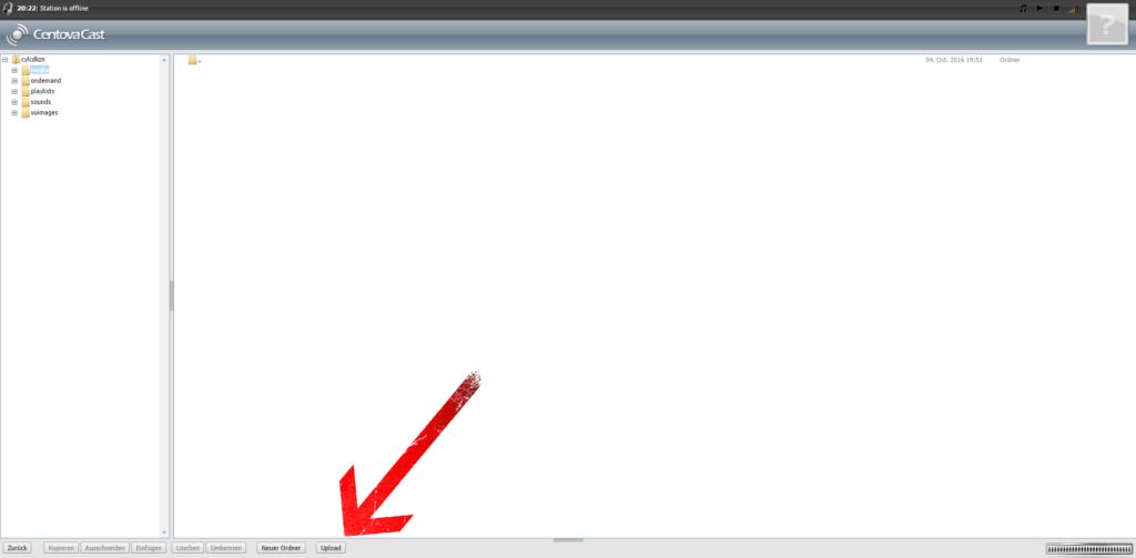 """Klicken Sie unten auf den Button """"upload"""" und laden Ihre Musikdateien ausschließlich im Ordner """"media""""."""