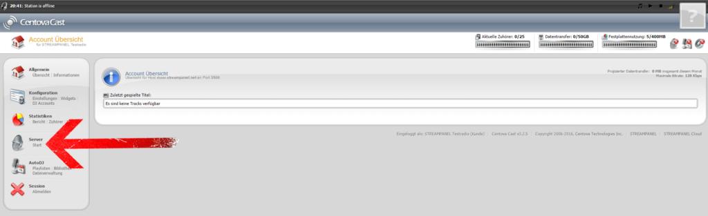 """Kehren Sie zum Hauptbildschirm des Centova Cast Panels zurück und klicken Sie nun unter dem Menüpunkt """"Server"""" auf """"Start""""."""